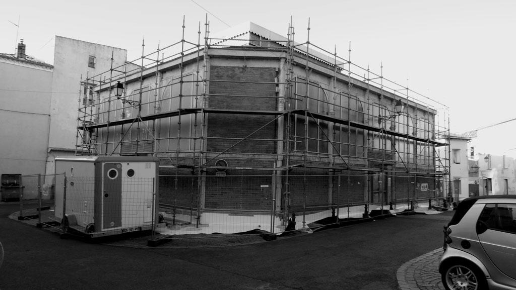 Traverses - 2016-02-17 montage échafaudage Halles 2