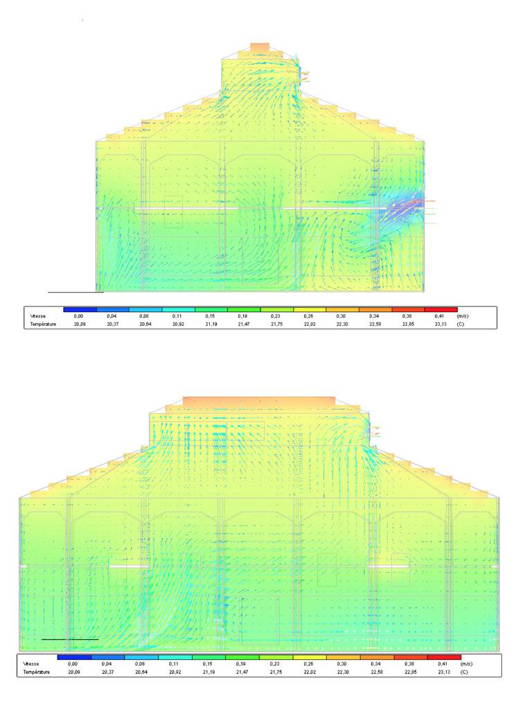 Traverses - simulation modélisation écoulement d'air nuit d'été (source BET 180°)
