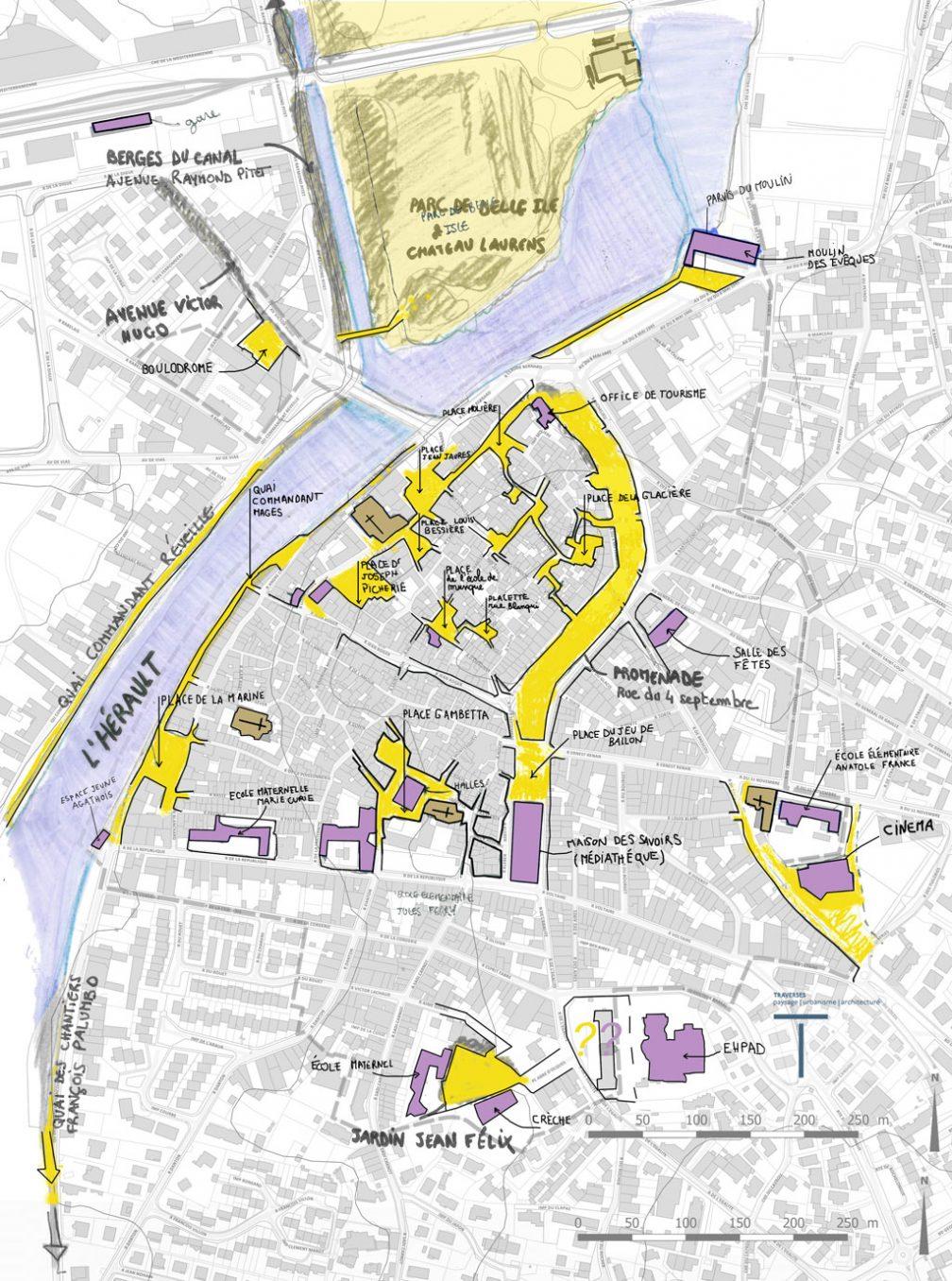 Traverses - cartographie de diagnostic : identifications des lieux publics importants