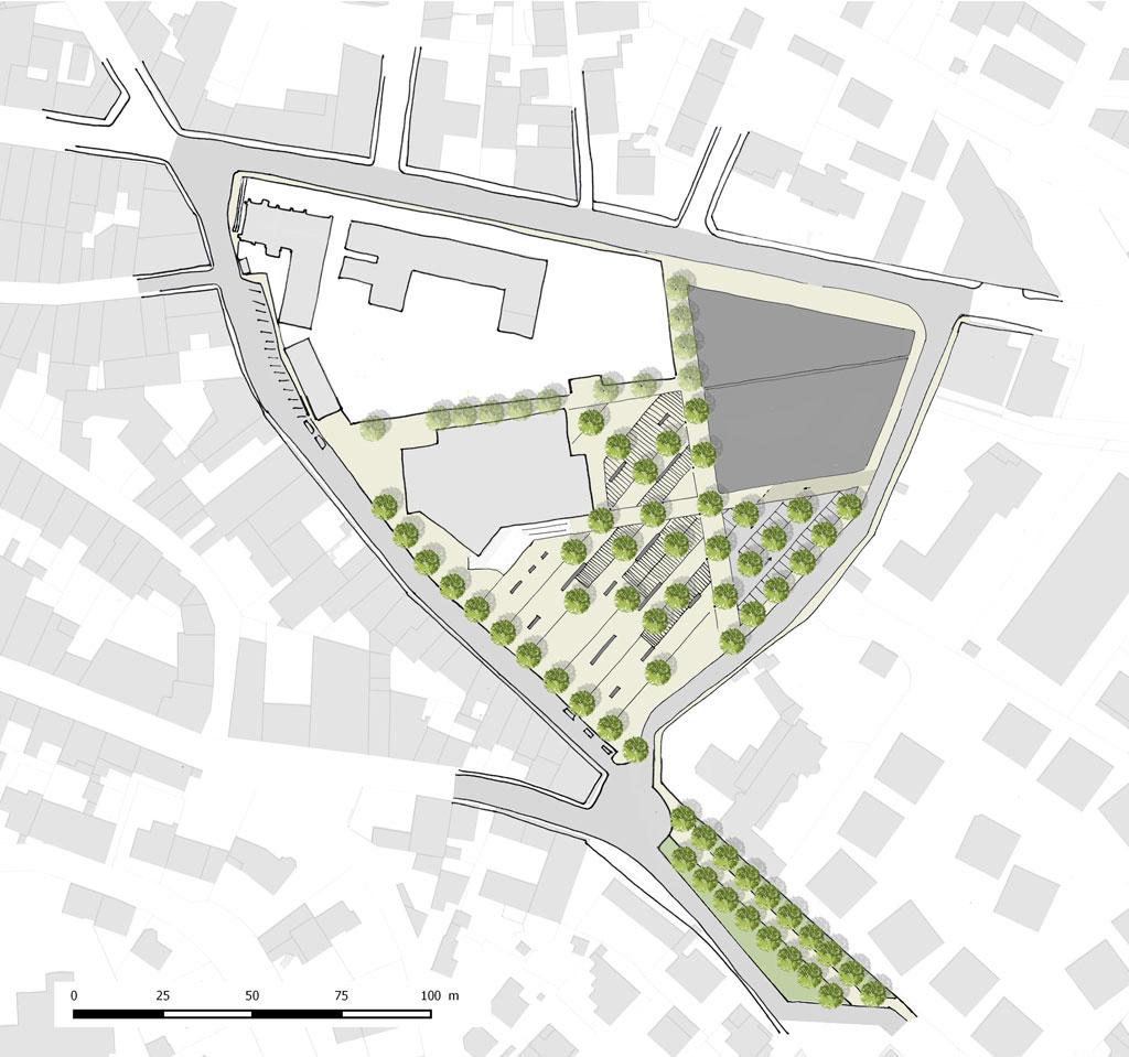 Traverses - proposition par sous-secteur : reconfiguration du parking