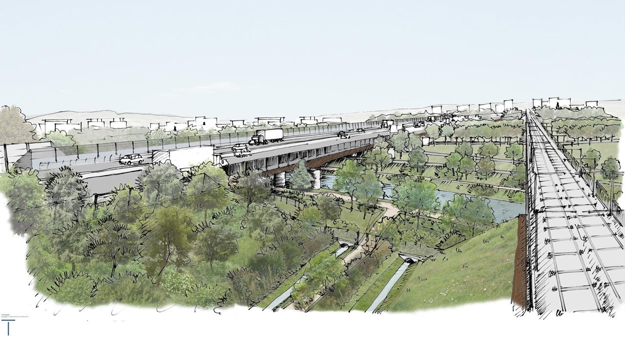 Traverses - Photomontage vue plongeante viaduc - Lez