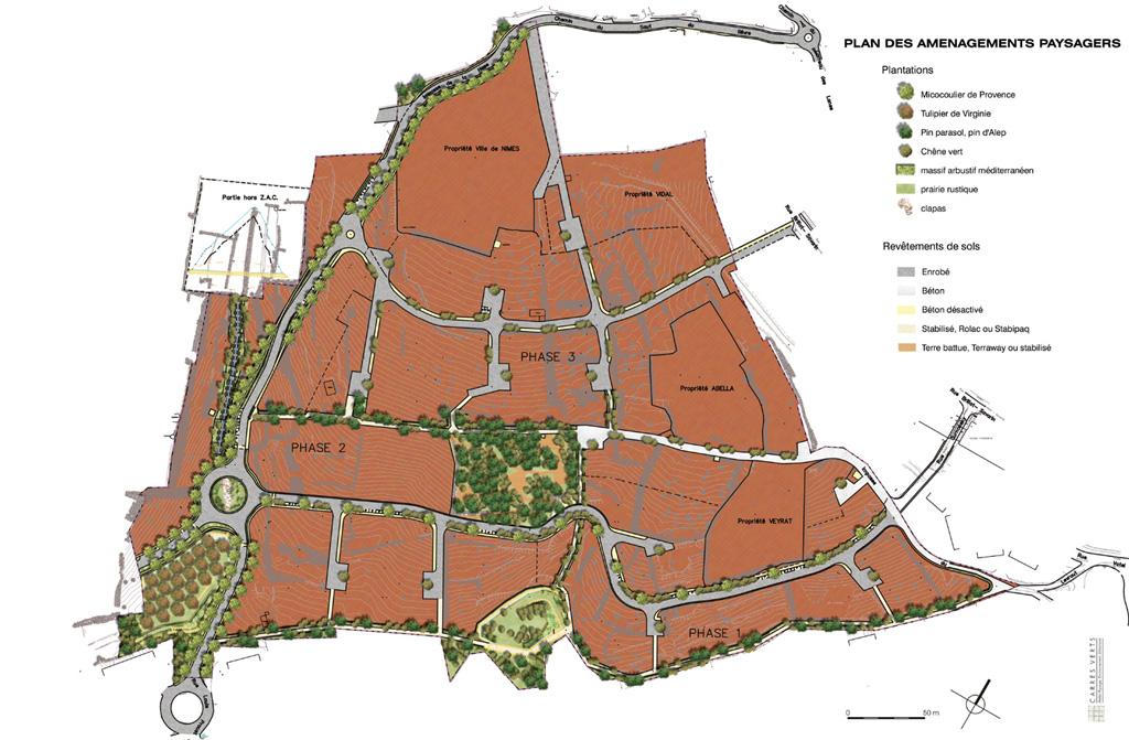 Traverses - plan des aménagements paysagers de la ZAC