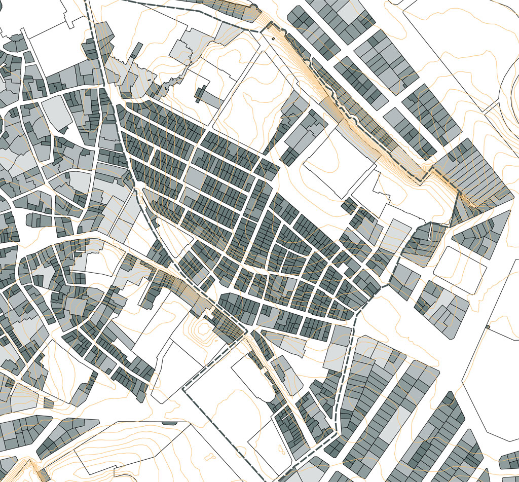 Traverses - étroitesse des parcelles (60m2 en moyenne) et des façades (5ml en moyenne)