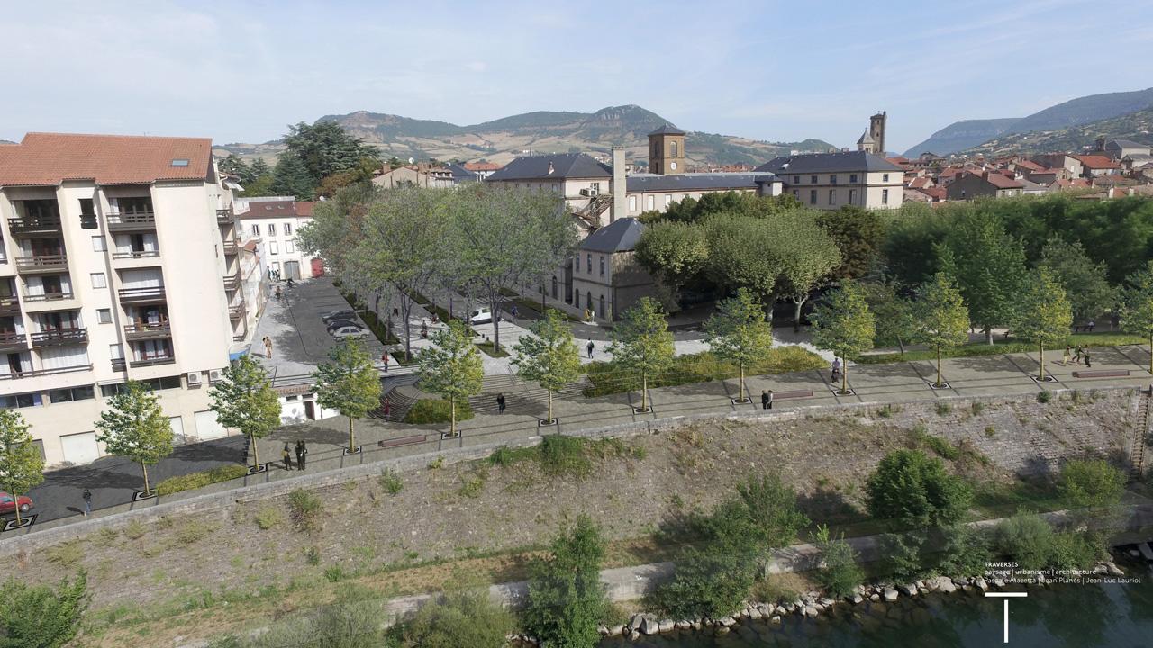 Traverses - montage de l'aménagement sur la place Bompaire