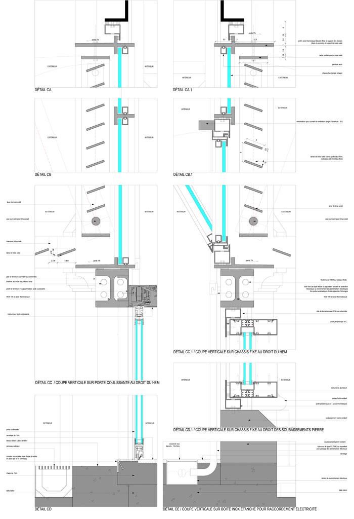 Traverses - détails constructifs - coupe sur façade - phase DCE