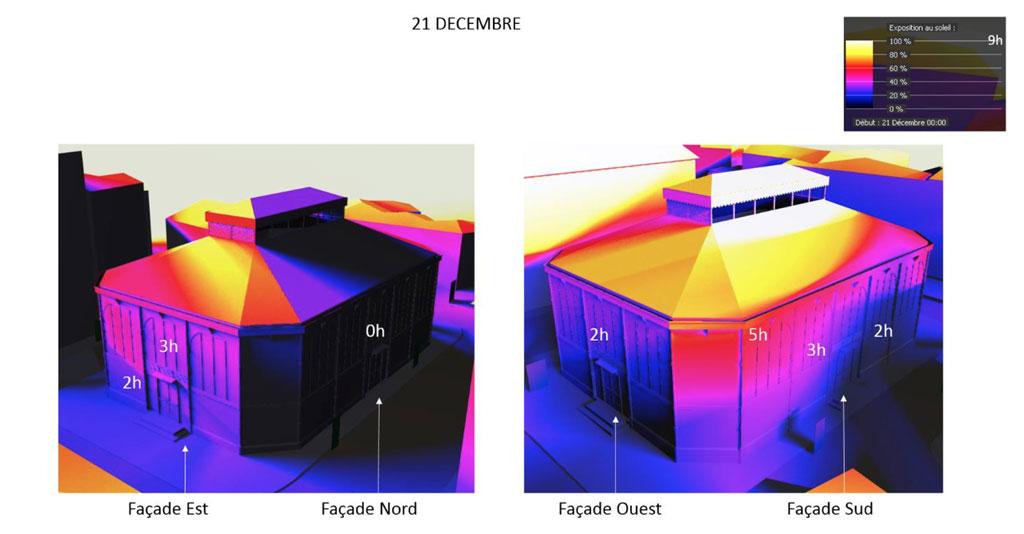 Traverses - simulation modélisation ensoleillement solstice d'hiver (source BET 180°)