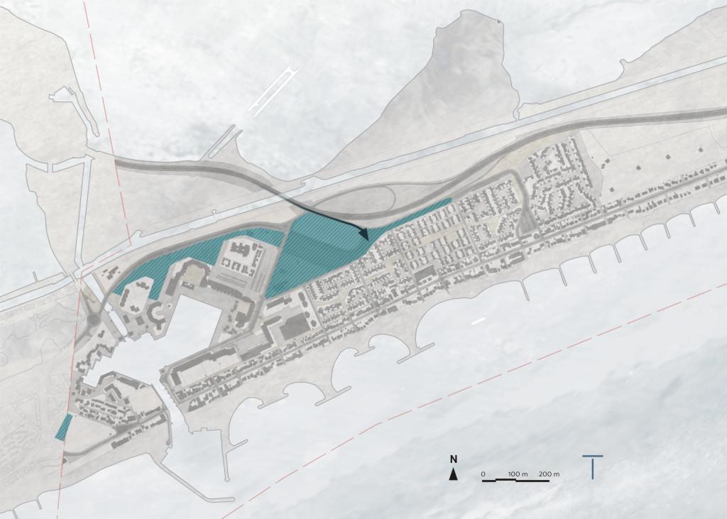 Traverses - compléter la trame arborée au nord de la station pour créer un parc abritant les stationnements