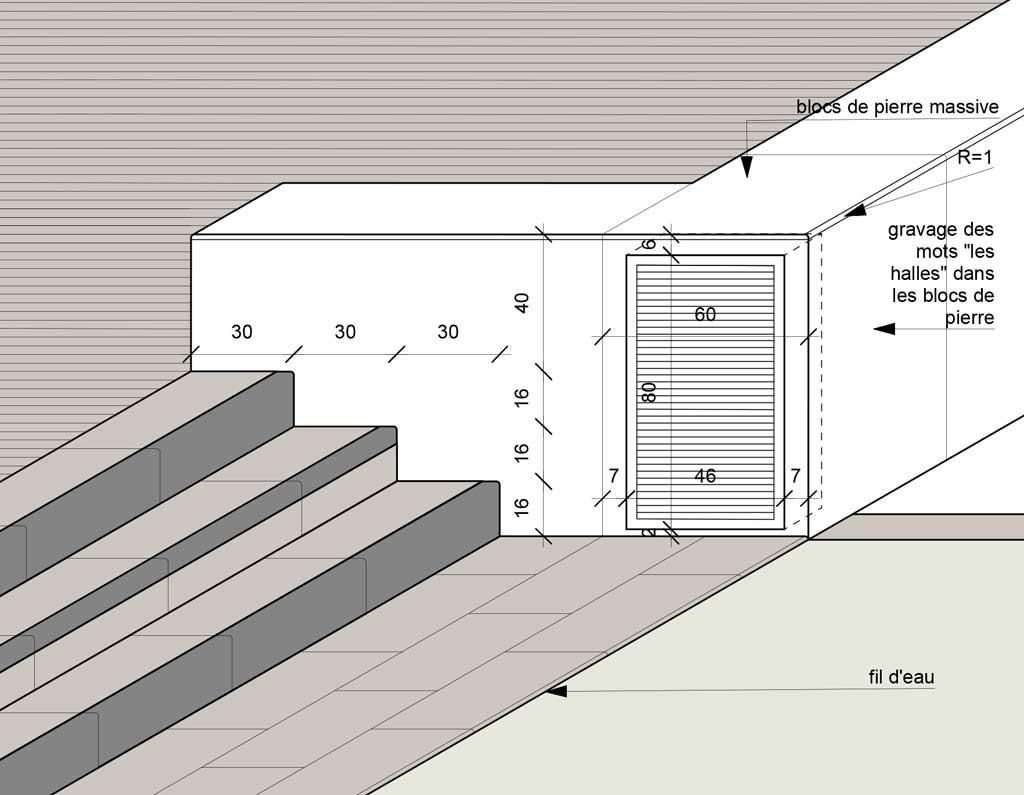Traverses - détail du muret intégrant les organes électriques