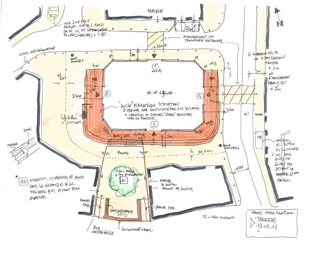 Traverses - croquis d'intention d'aménagement des espaces publics