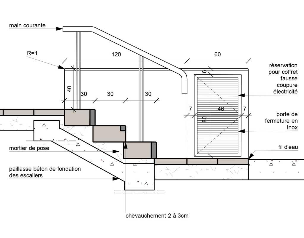 Traverses - détail escalier et muret intégrant les organes électriques