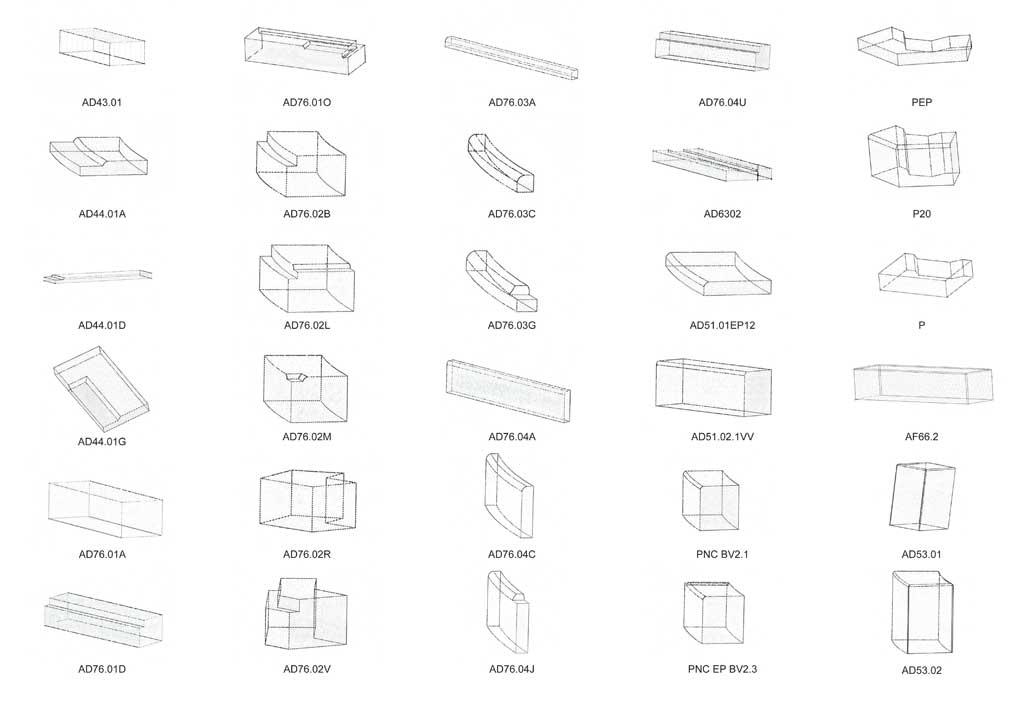 Traverses - catalogue des pierres spéciales et bandes structurantes