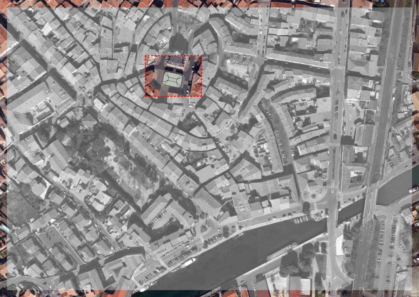 Traverses - plan de situation des halles dans le centre ancien de Frontignan