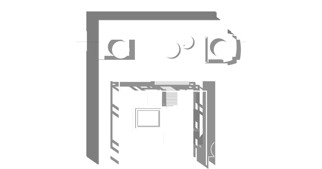 Traverses - parvis du palais - plan masse ombres portées - sas