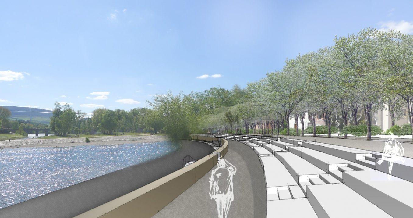 Traverses - séquence quai Sully Challiez - perspective sur gradins