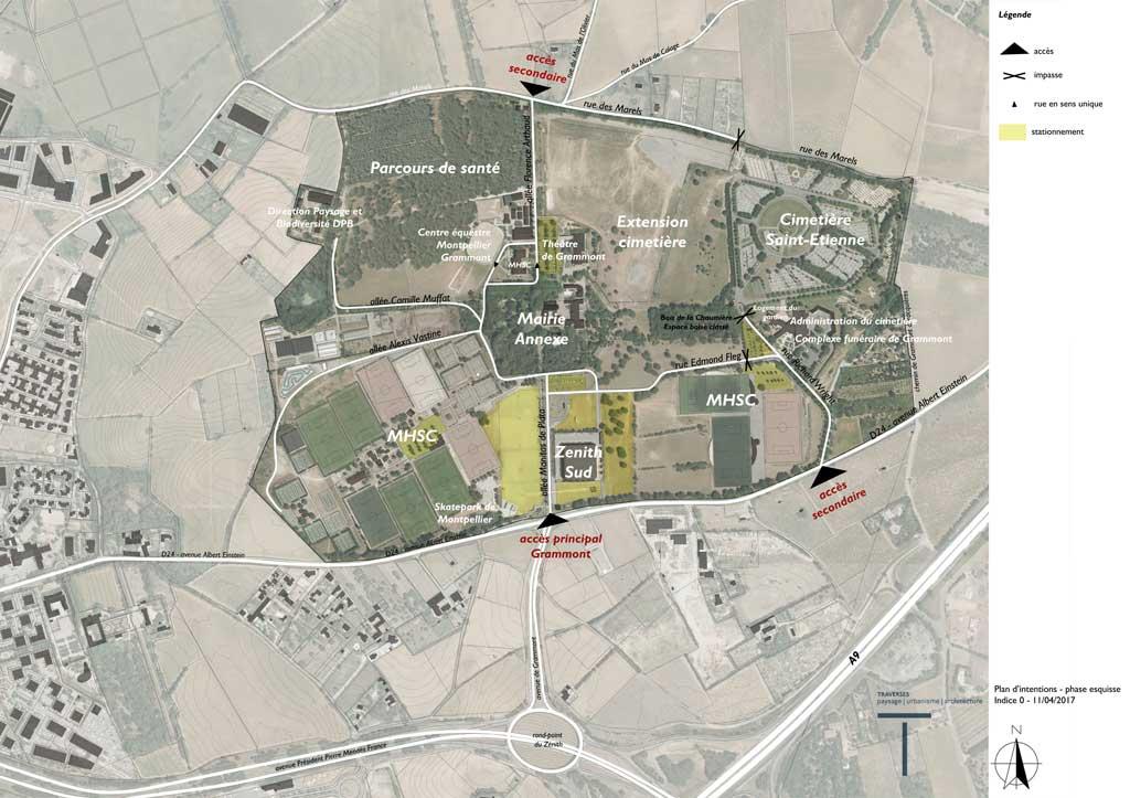 Traverses - vue aérienne du site de Grammont et son environnement