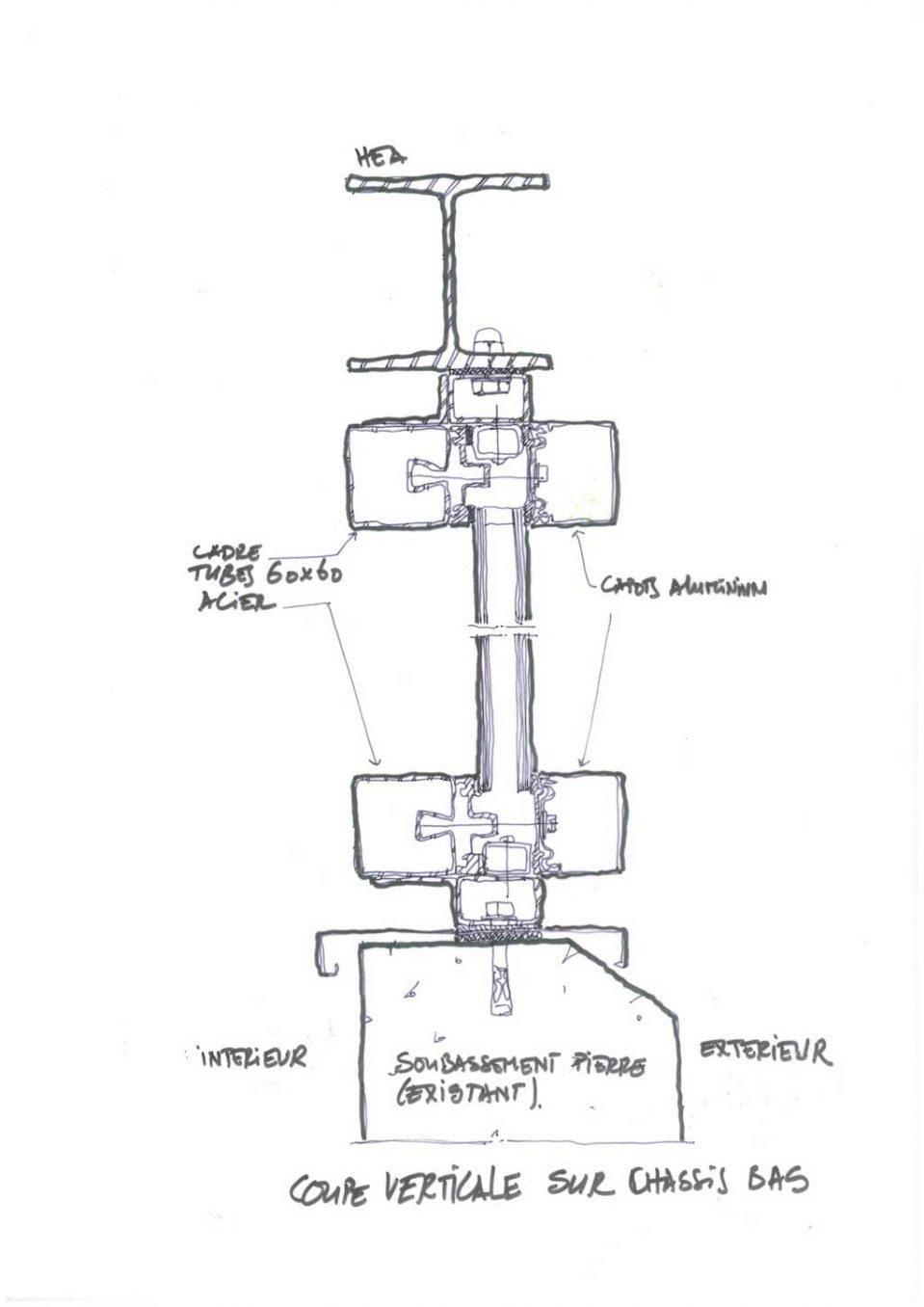 Traverses - détail des éléments de chassis vitrés en partie basse