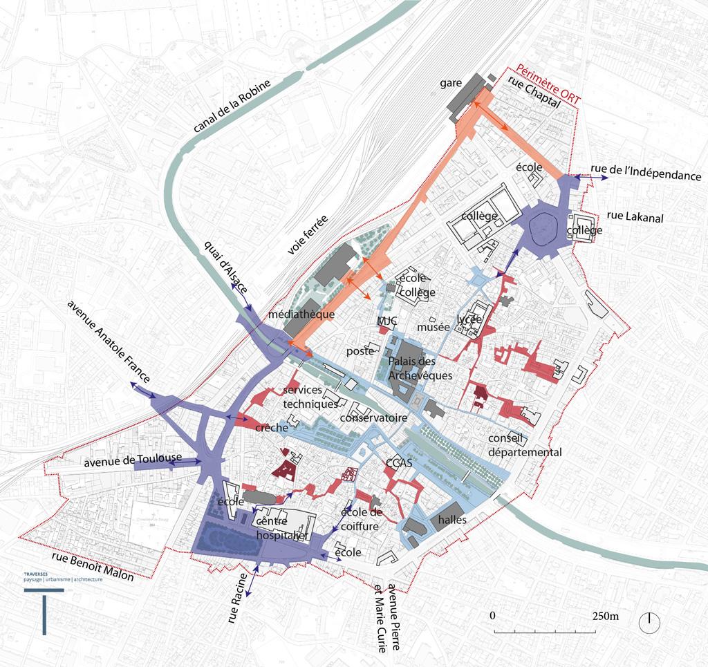 Traverses - carte d'ensemble - les 4 objectifs pour Narbonne