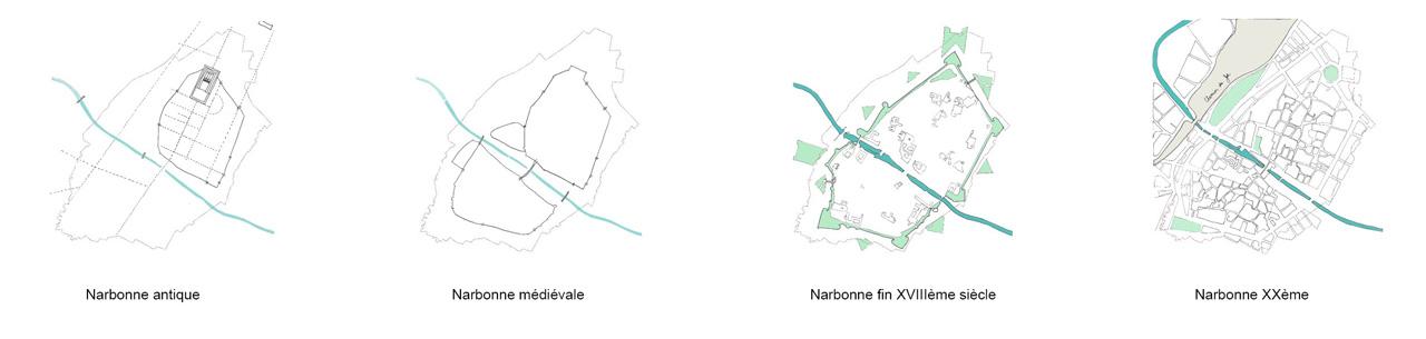 Traverses - un centre ancien historiquement constitué de deux quartiers, séparés par le canal de la Robine