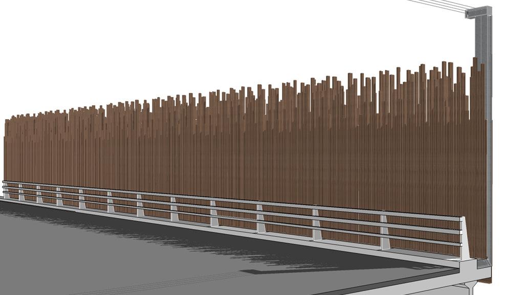 Traverses - Vue 3D d'un écran sur ouvrage