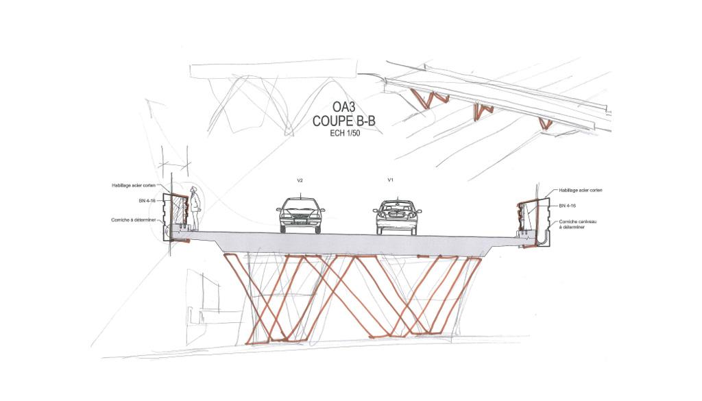 Traverses - croquis d'intention sur OA 3 - RD9 - Aix-en-Provence