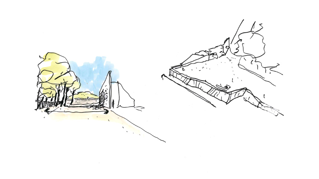 Traverses - Grammont - esquisse conciergerie et terrasse