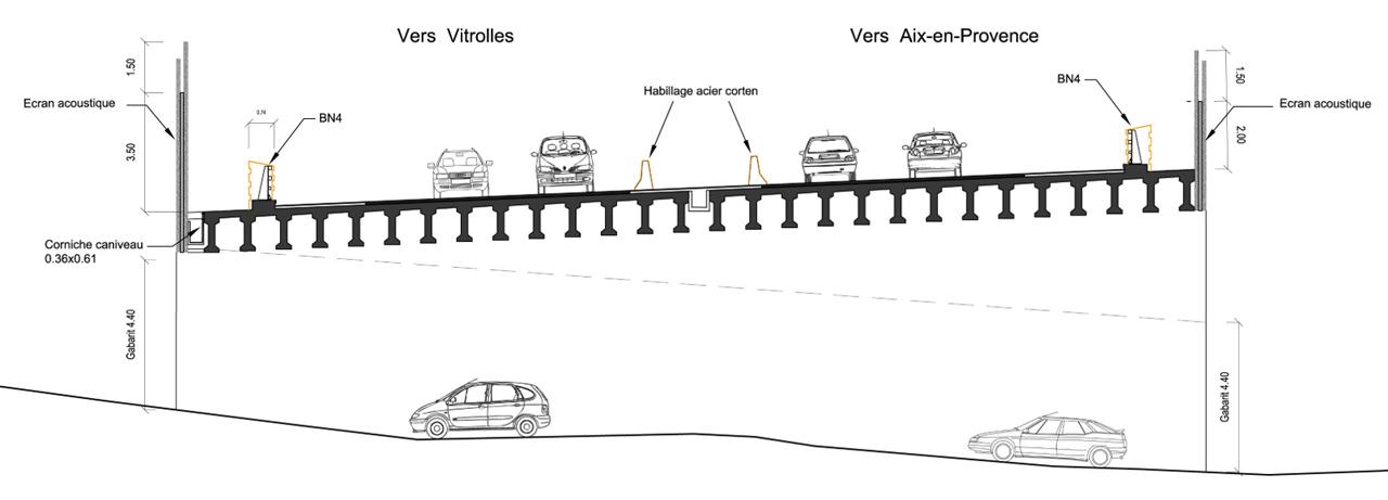 Traverses - coupe sur OA 4 - RD9 - Aix-en-Provence