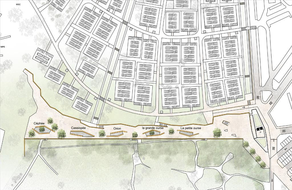 Traverses - Grammont - plan terrasse et îles columbariums