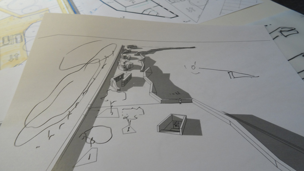Traverses - Grammont - simulation terrasse et îles columbariums