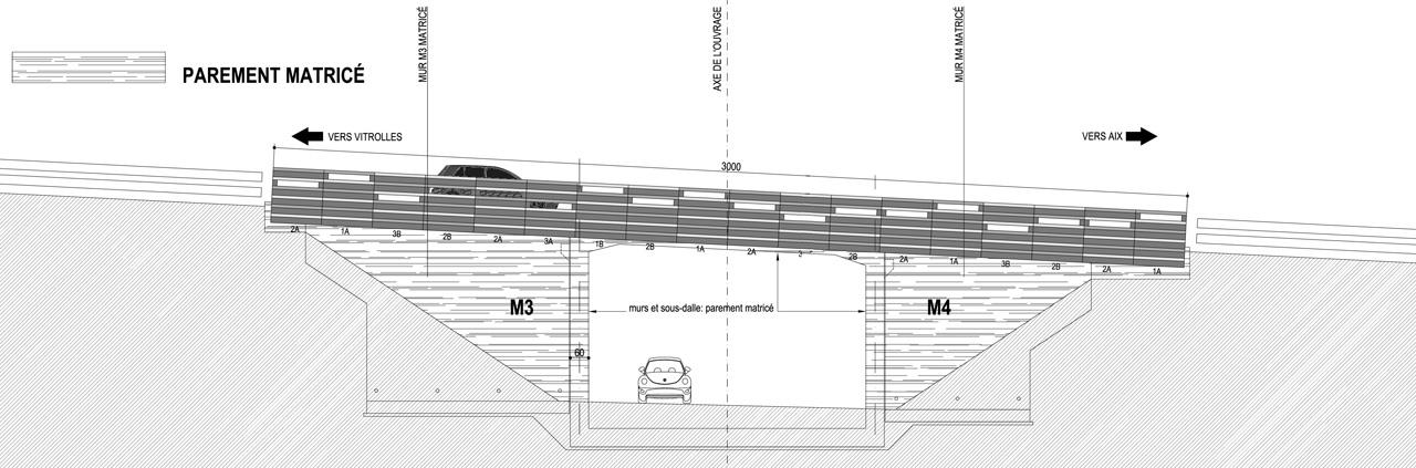 Traverses - coupe sur l'OA 1 - RD9 - Aix-en-Provence