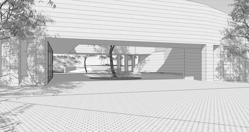Traverses - Grammont - vue du patio de la conciergerie